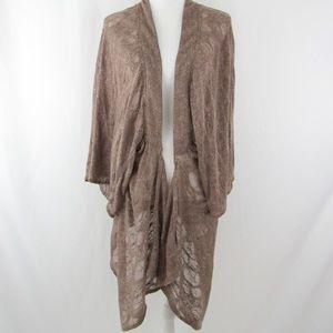 Sheer Open Knit Wide Sleeve Kimono Sweater